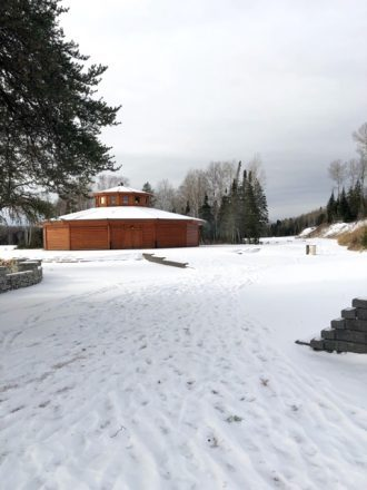 Lac des Mille Lacs First Nation round house covered in snow